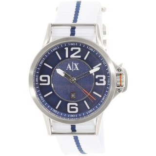 Armani Exchange Men's AX1580 Blue/White Cloth Quartz Watch