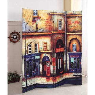 Trudy 4-panel Wooden Vintage City Scene Screen