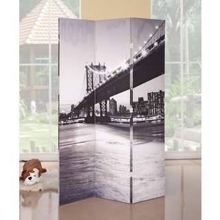 Truly 3-panel Wooden Brooklyn Bridge Scene Screen