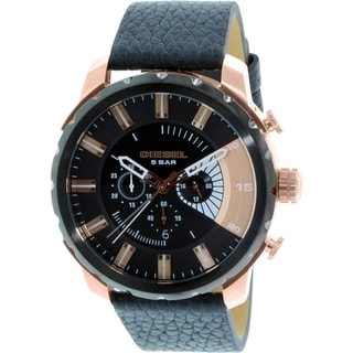 Diesel Men's Stronghold DZ4347 Black Leather Quartz Watch