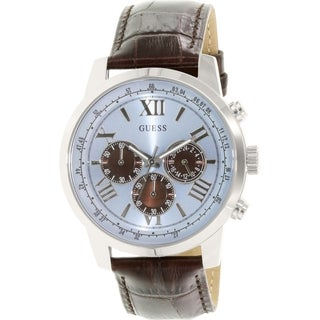 Guess Men's U0380G6 Brown Leather Quartz Watch