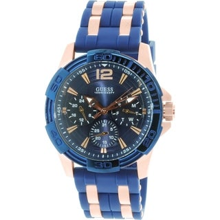 Guess Men's Blue Rubber Quartz Watch