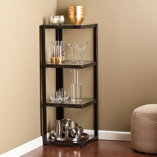 Harper Blvd Distressed Black Metal and Glass Corner Shelf