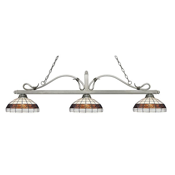 Avery Home Lighting Melrose 3-light Island/Billiard Multi Colored Tiffany-style-finished Light