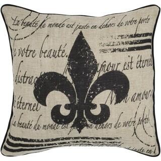 "Rizzy Home 18""x18"" Fleur De Lis Beige Throw Pillow"