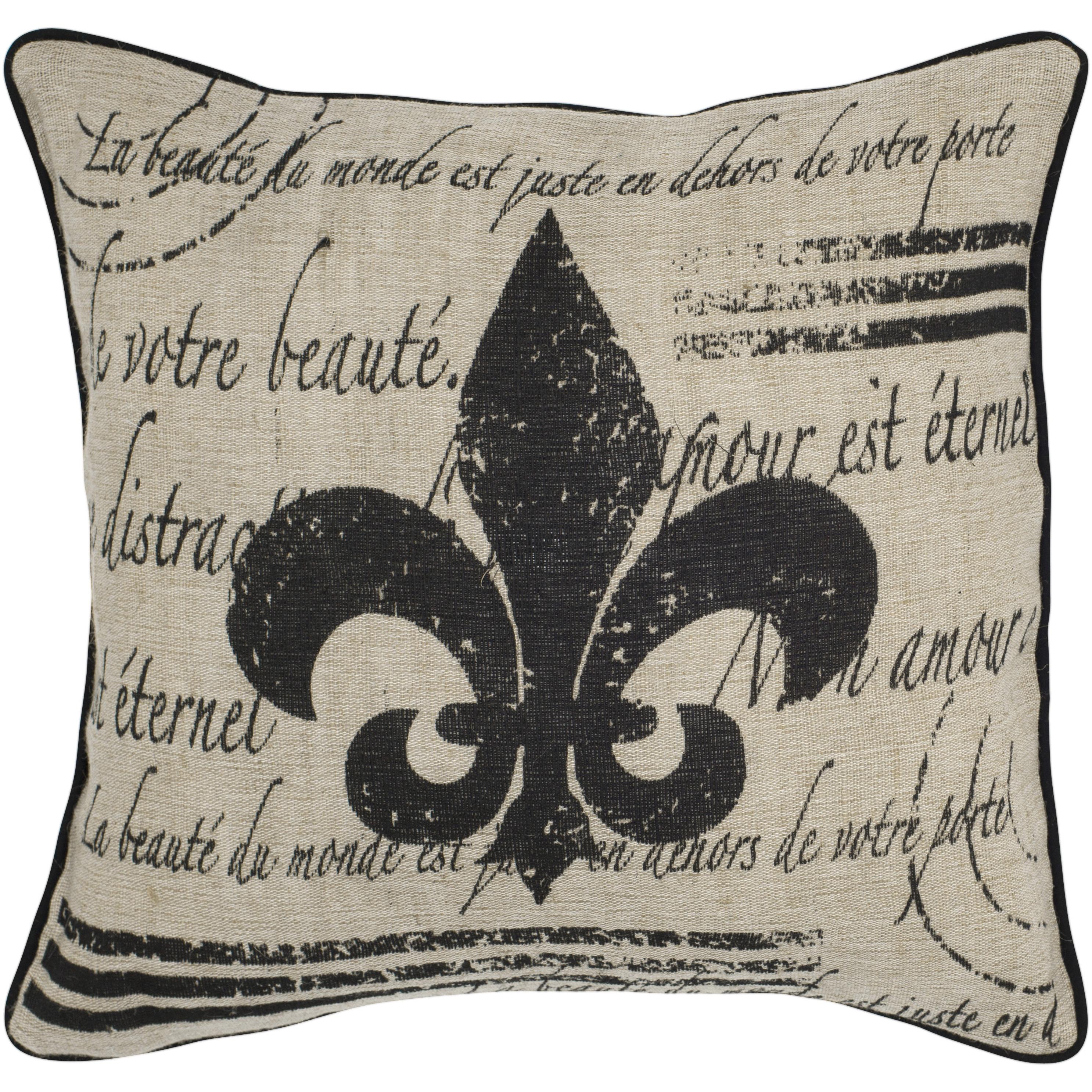 18 X18 Fleur De Lis Beige Throw Pillow