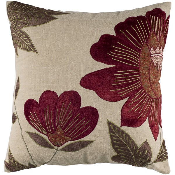 Shop Rizzy Home 18 Inch Floral Throw Pillow Free