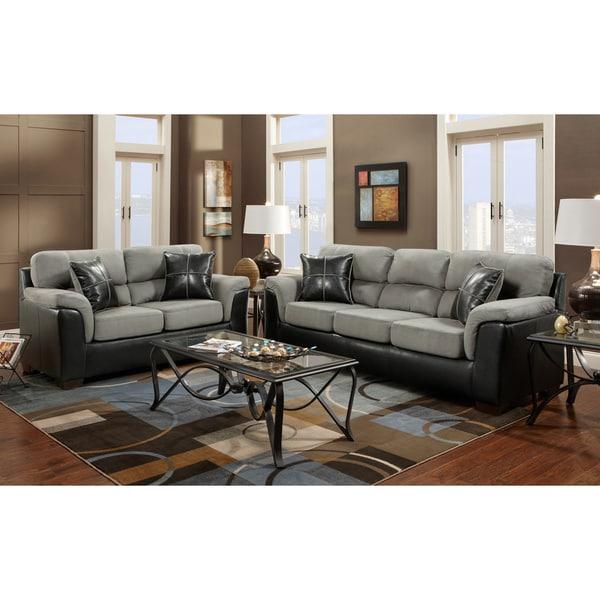 Laredo 2 toned sofa and loveseat living room set black for Black and grey sofa set