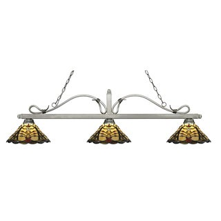 Z-Lite Melrose 3-light Island/Billiard Multi Colored Tiffany-style-finished Light