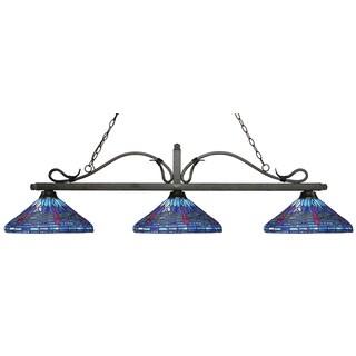 Z-Lite Melrose 3-light Island/Billiard Multi Colored Tiffany-finished Light