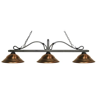 Z-Lite Melrose 3-light Island/Billiard Stepped Antique Copper-finished Light