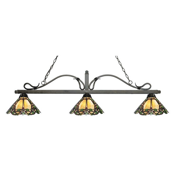 Z-Lite Melrose 3-light Island/Billiard Multi Colored Tiffany-style-finished Light
