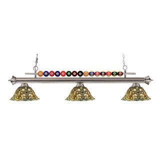 Z-Lite Shark 3-light Island/Billiard Multi Colored Tiffany-style-finished Light