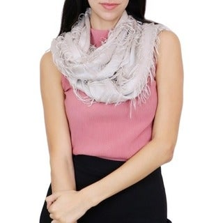 LA77 Solid Color Fringe Loop Scarf