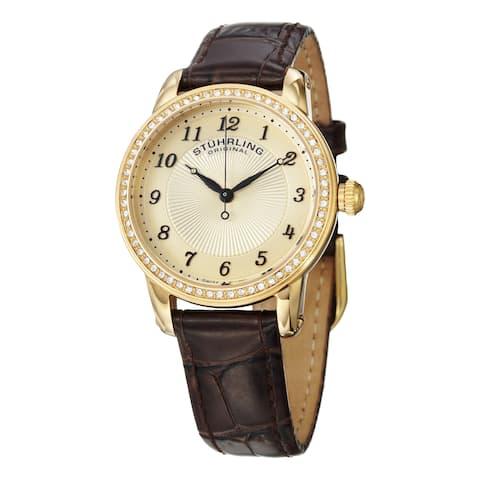 Stuhrling Original Women's Symphony Swiss Quartz Brown Crystal Leather Strap Watch - Gold