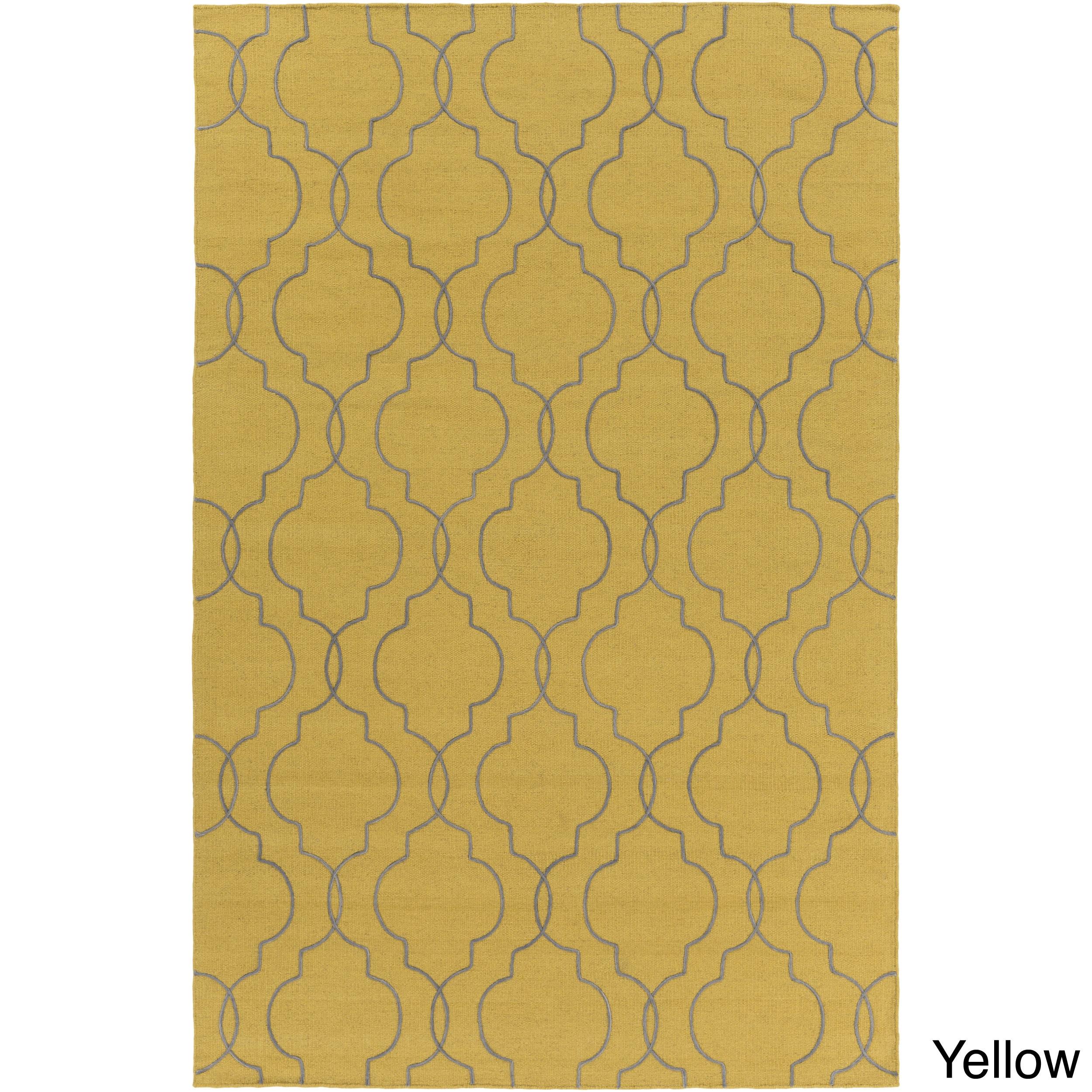 Hand-Woven Jaiden Geometric Pattern Wool Rug (2' x 3') (Y...