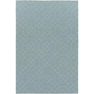 Hand-Stitched Javier Geometric Wool Area Rug (2 x 3 - Seafoam)