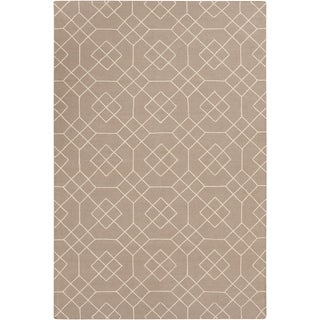 Hand-Stitched Javier Geometric Wool Area Rug (2 x 3 - Tan)