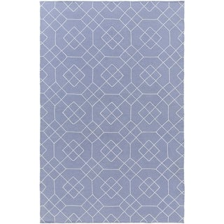 Hand-Stitched Javier Geometric Wool Area Rug (2 x 3 - Navy)