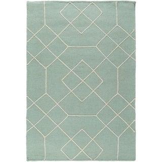 Hand-Stitched Javier Geometric Wool Area Rug (2 x 3 - Teal)