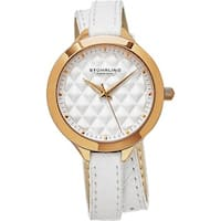 Stuhrling Original Women's Vogue Quartz White Double Wrap Leather Strap Watch