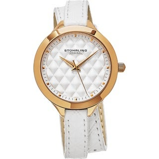 Stuhrling Original Women's Vogue Quartz White Double Wrap Leather Strap Watch