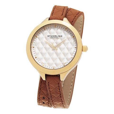 Stuhrling Original Women's Vogue Quartz Tan Double Wrap Leather Strap Watch