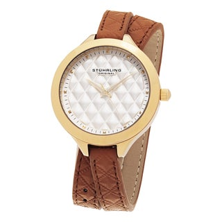 Stuhrling Original Women's Vogue Quartz Tan Double Wrap Leather Strap Watch