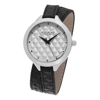 Stuhrling Original Women's Vogue Quartz Black Double Wrap Leather Strap Watch
