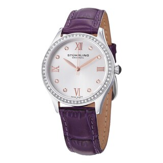 Stuhrling Original Women's Vogue Swiss Quartz Purple Crystal Leather Strap Watch