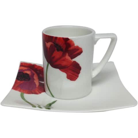 "Summer Sun Espresso Cup 3oz /Saucer 4.5"" (Set of 6)"