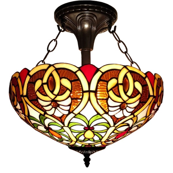 41cfca3196ac Shop Amora Lighting Tiffany Style Floral Flush Mount Ceiling Fixture ...