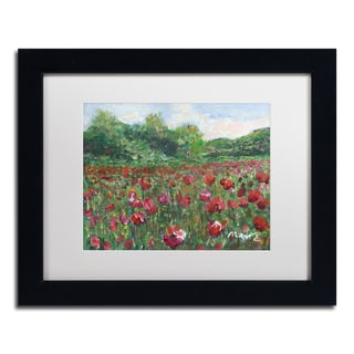 Manor Shadian 'Poppy Field Wood' White Matte, Black Framed Wall Art