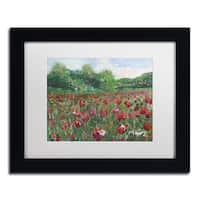 Manor Shadian 'Poppy Field Wood' White Matte, Black Framed Wall Art