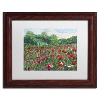 Manor Shadian 'Poppy Field Wood' White Matte, Wood Framed Wall Art