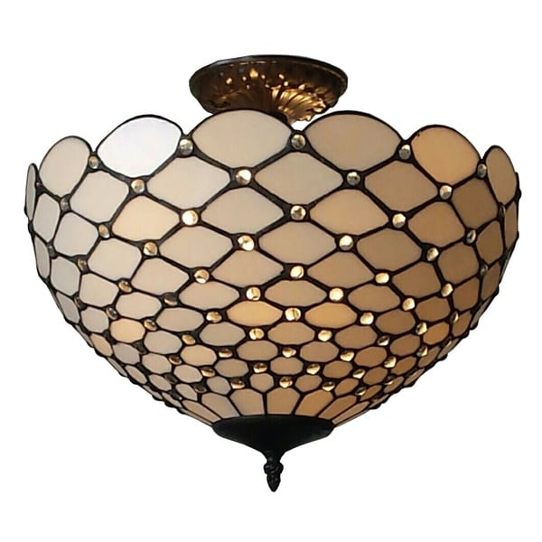 Shop Amora Lighting Tiffany Style Jewel Semi Flush Mount Ceiling ...