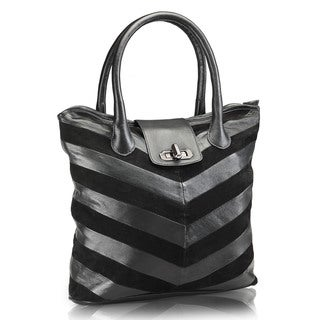 Phive Rivers Black Leather Tote Handbag (Italy)