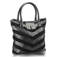 Handmade Phive Rivers Black Leather Tote Handbag (Italy) - One size