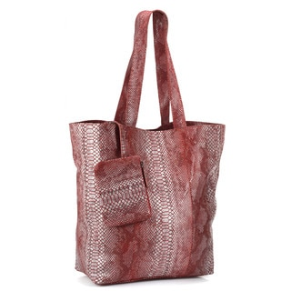 Phive Rivers Red Leather Tote Handbag (Italy)