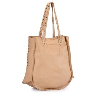 Phive Rivers Beige Leather Tote Handbag (Italy)