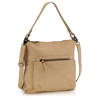 Phive Rivers Beige Leather Shoulder Handbag (Italy)
