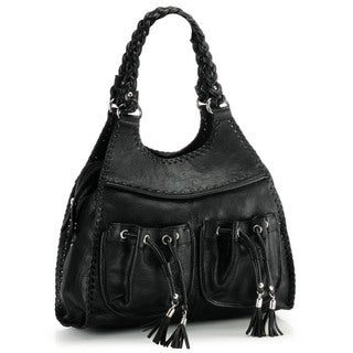 Phive Rivers Black Leather Hobo Handbag (Italy)