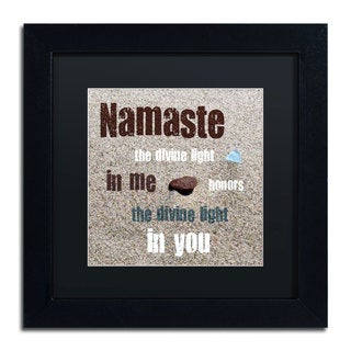 Michelle Calkins 'Namaste with Pebble and Beach Glass' Black Matte, Black Framed Wall Art