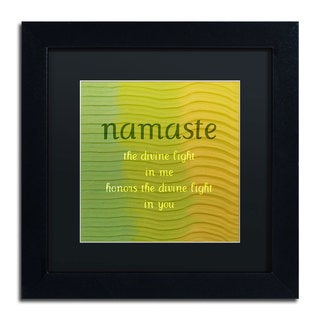 Michelle Calkins 'Namaste' Black Matte, Black Framed Wall Art