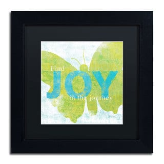 Sue Schlabach 'Letterpress Joy' Black Matte, Black Framed Wall Art