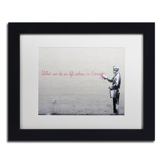 Banksy 'Echoes' White Matte, Black Framed Wall Art