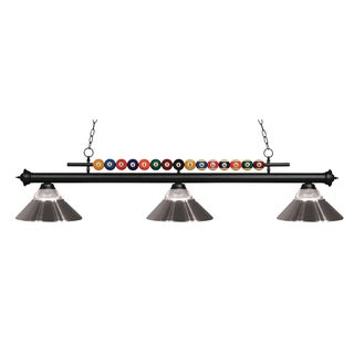 Z-Lite Shark 3-light Island/Billiard Clear Ribbed Glass and Metal Brushed Nickel -finished Light