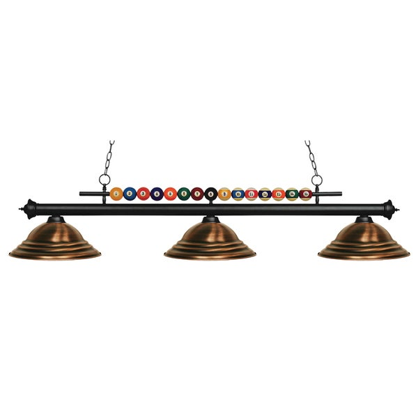 Z-Lite Shark 3-light Island/Billiard Stepped Antique Copper-finished Light - ANTIQUE COPPER