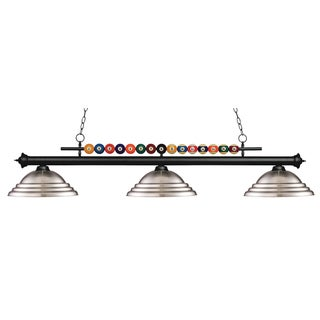 Z-Lite Shark 3-light Island/Billiard Stepped Brushed Nickel-finished Light