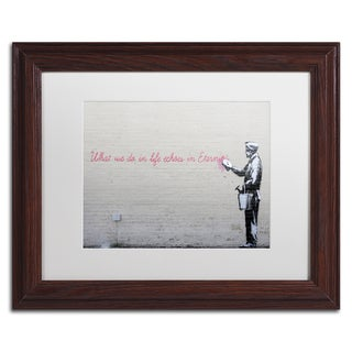 Banksy 'Echoes' White Matte, Wood Framed Wall Art